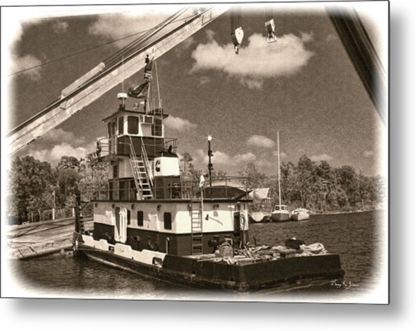 Push That Barge Metal Print by Barry Jones