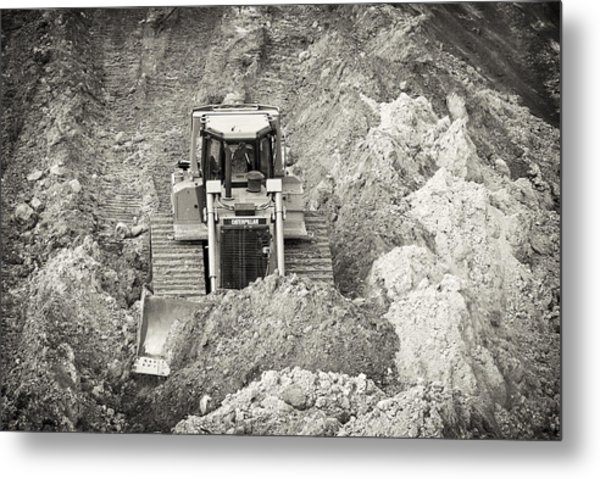 Pushing Dirt Metal Print