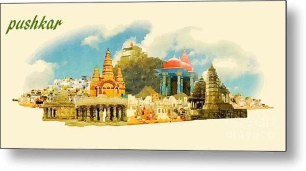 Pushkar City Panoramic Vector Water Metal Print