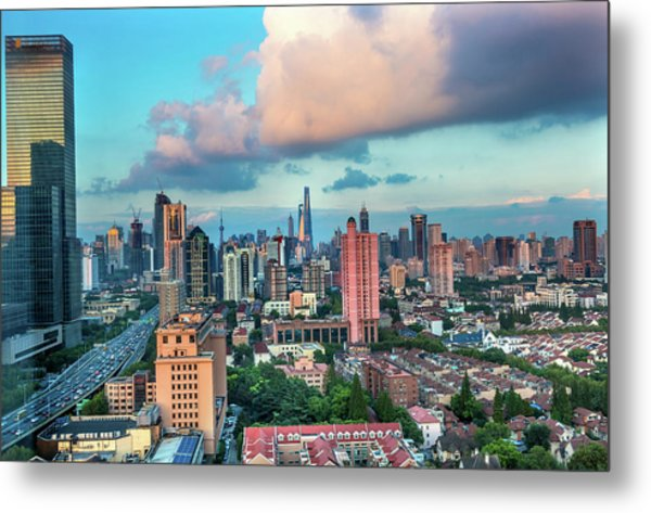 Puxi Pudong Buildings World Modern Metal Print by William Perry