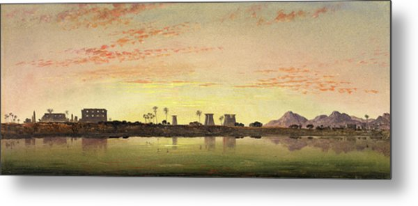 Pylons At Karnak, The Theban Mountains In The Distance Metal Print by Litz Collection