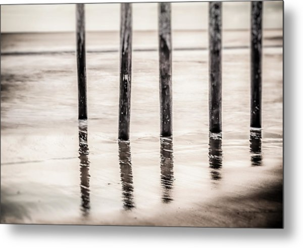 Pylons In Black And White Metal Print