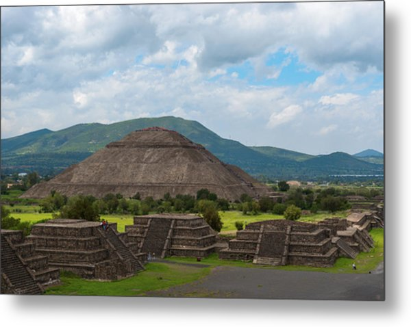 Pyramid Of The Sun As Viewed From Pyramid Of The Moon Mexico Metal Print