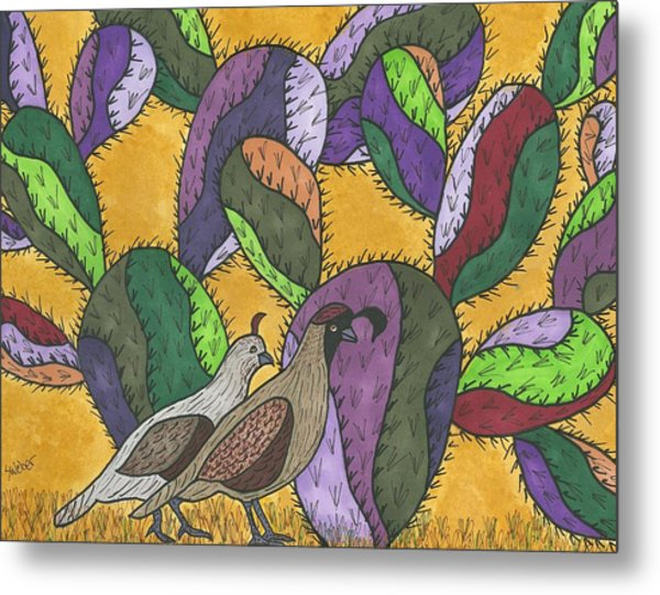 Quail And Prickly Pear Cactus Metal Print