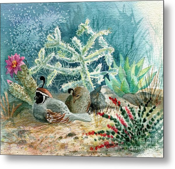 Quail At Rest Metal Print
