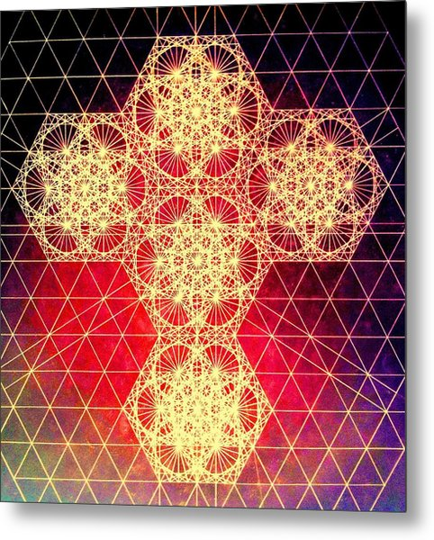 Quantum Cross Hand Drawn Metal Print