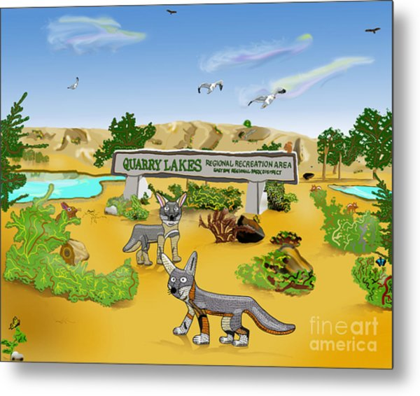 Quarry Lakes And Gray Foxes Metal Print