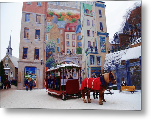 Quebec City Holiday Metal Print by Jacqueline M Lewis