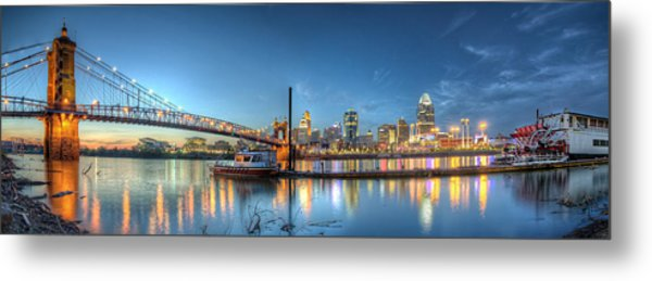 Queen City Panorama At Twilight Metal Print
