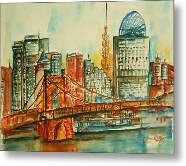 Queen City Skyline Cincinnati Oh Metal Print