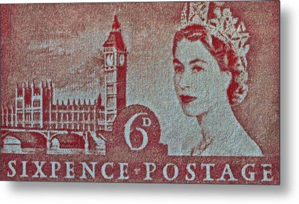 Queen Elizabeth II Big Ben Stamp Metal Print