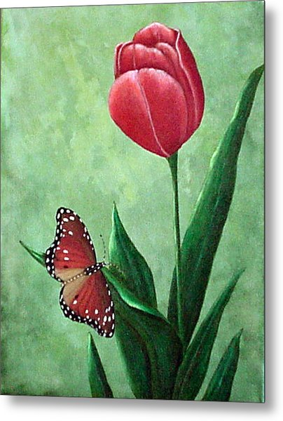 Queen Monarch And Red Tulip Metal Print