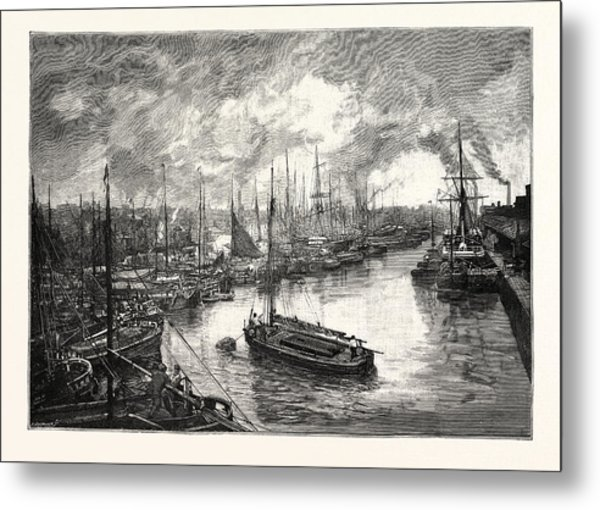 Queens Dock, Hull. The Port Of Hull Is A Trading Port Metal Print
