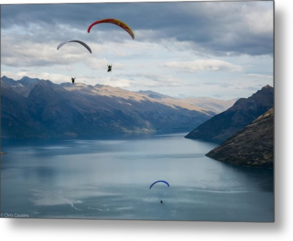 Queenstown Paragliders Metal Print