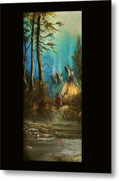 Quiet Forest With Tepees Blank Metal Print