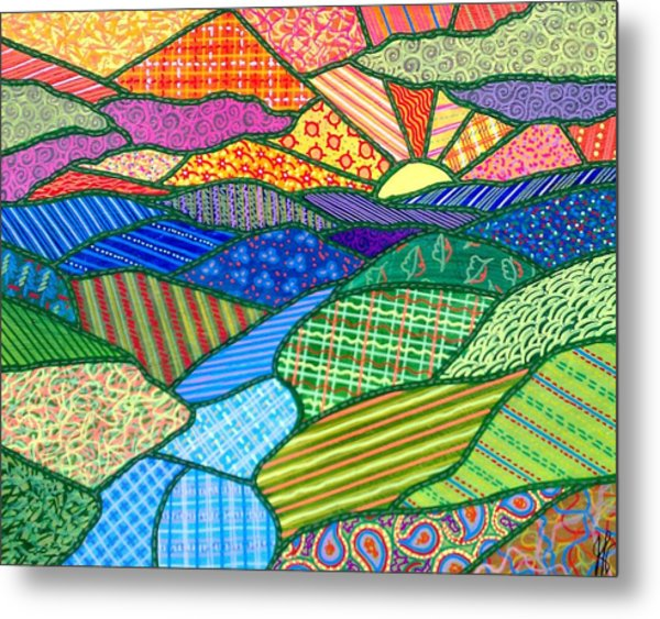 Quilted Appalachian Sunset Metal Print