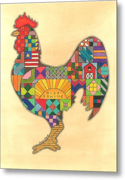Quilted Rooster Metal Print