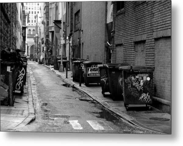 Quite Alley After The Rain Metal Print