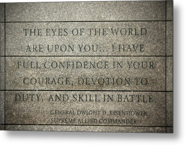 Quote Of Eisenhower In Normandy American Cemetery And Memorial Metal Print