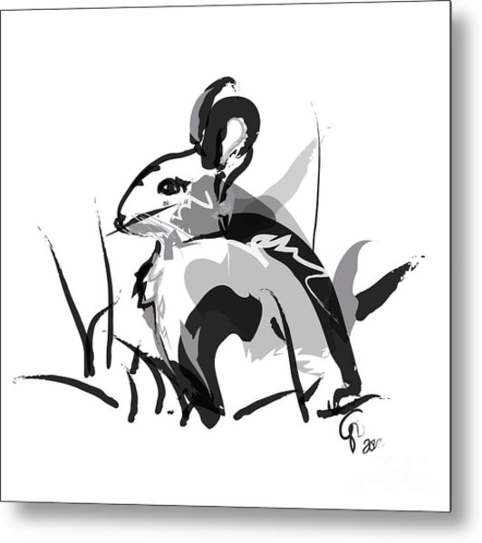 Rabbit Bunny Black White Grey Metal Print