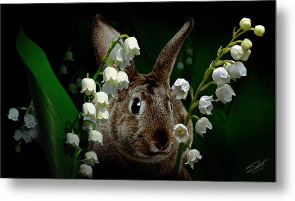 Rabbit In The Lilies Metal Print