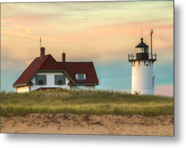 Race Point Light At Sunset Metal Print