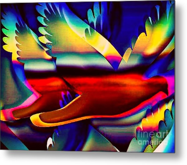 Racing Birds Metal Print