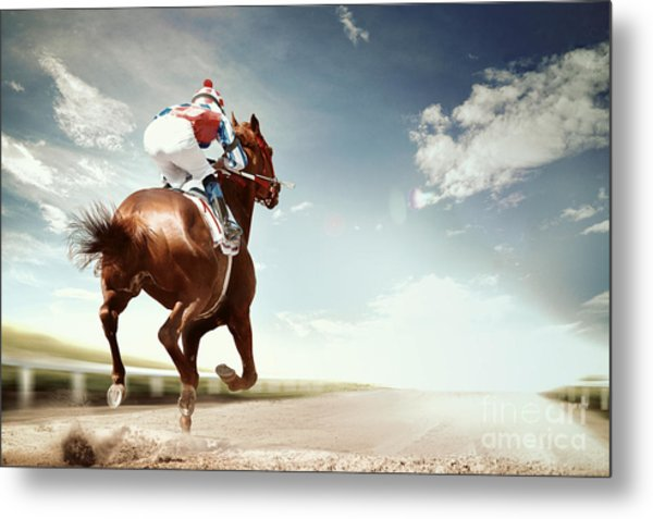 Racing Horse Coming First To Finish Metal Print