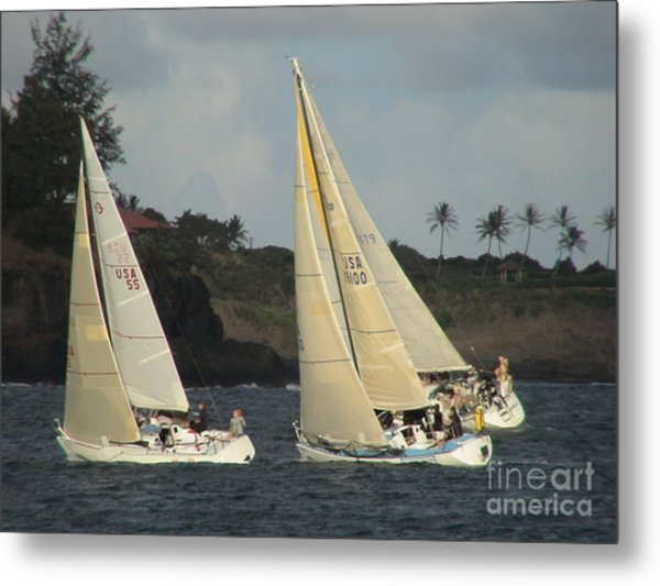 Racing In Kauai Metal Print
