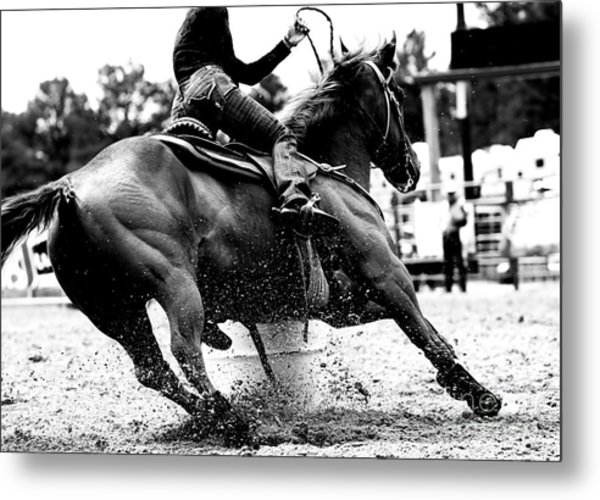 Racing The Barrels Metal Print