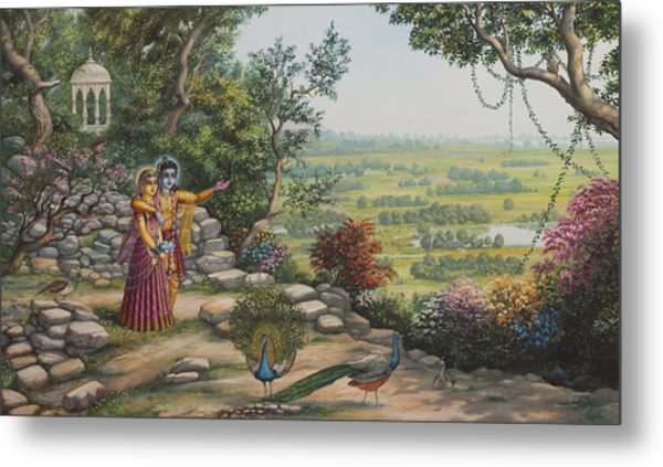 Radha And Krishna On Govardhan Metal Print