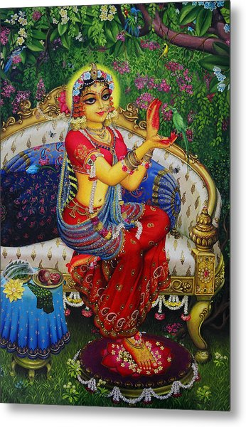 Radha With Parrot Metal Print