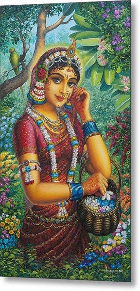 Radharani In Garden Metal Print