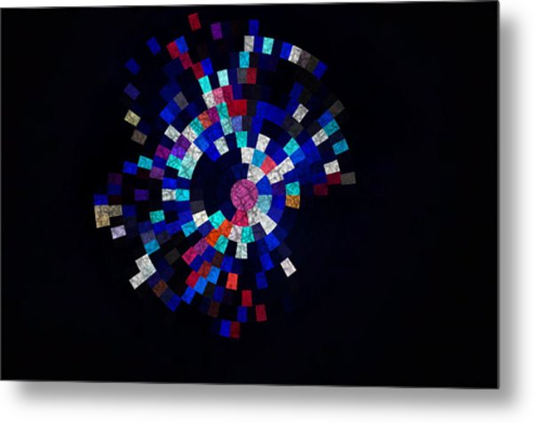 Radial Mosaic In Red White And Blue Metal Print