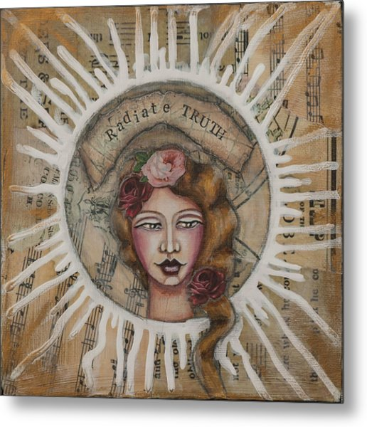 Radiate Truth Inspirational Folk Art Metal Print