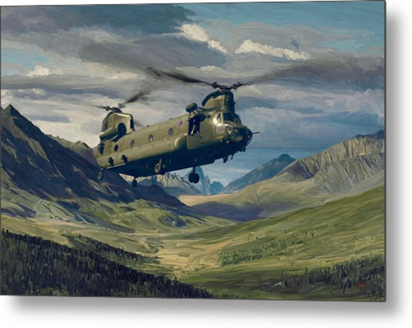 Raf Chinook Ch-47 On Exercise Metal Print