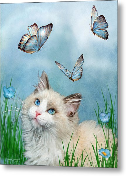 Ragdoll Kitty And Butterflies Metal Print