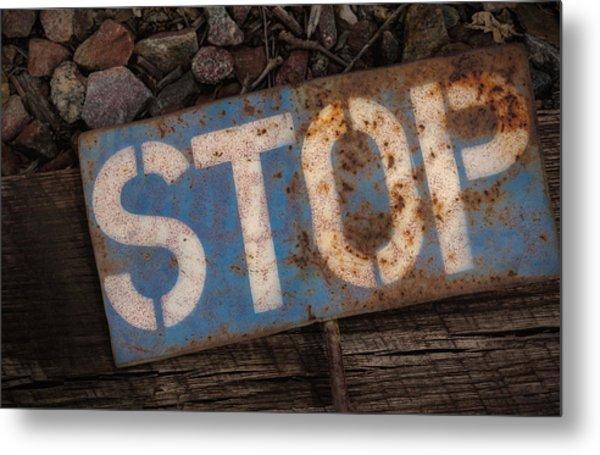 Railroad-stop Sign Metal Print by Joe Gemignani