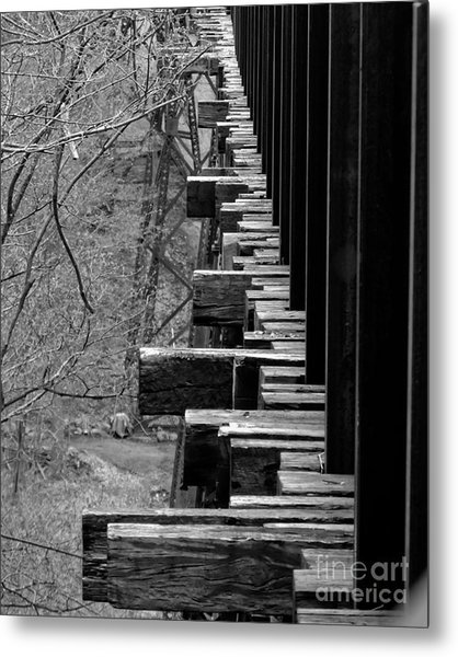 Metal Print featuring the photograph Railroad Ties On Trestle Bridge by Kristen Fox