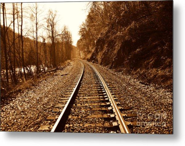 Railroad Track Metal Print by Cheryl Boutwell