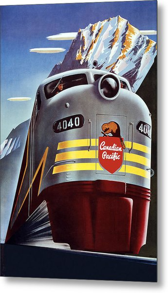 Railroad Travel Poster Metal Print