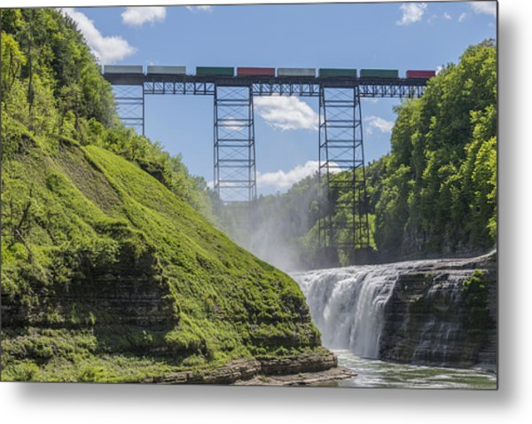 Railroad Trestle And Upper Falls At Letchworth State Park Metal Print