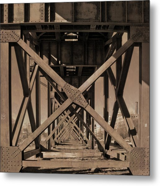 Metal Print featuring the photograph Railroad Trestle Sepia by Jemmy Archer