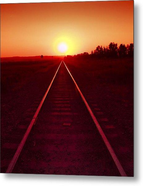 Rails To The Sun Metal Print