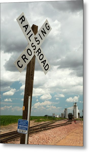 Railway Crossing And Grain Elevators Metal Print