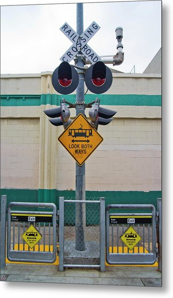 Railway Crossing In Downtown Los Angeles. Metal Print