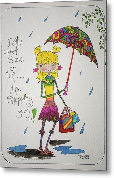 Rain And Shopping Metal Print by Mary Kay De Jesus
