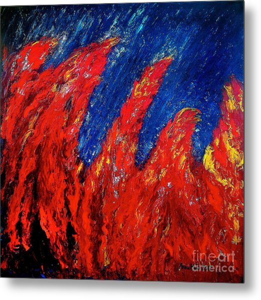 Rain On Fire Metal Print