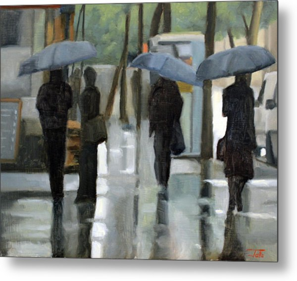 Rain On Saint Germain Metal Print