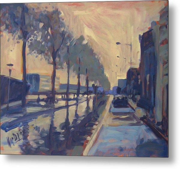 Rain On The Havendijk Tilburg Metal Print